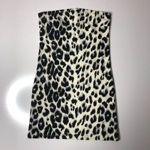 H&M Strapless Bodycon Snow Leopard Mini Dr…
